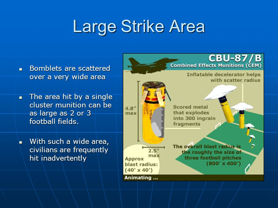 Large Strike Area Bomblets are scattered over a very wide area