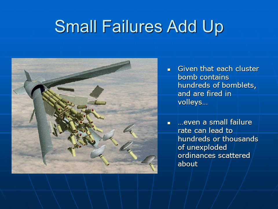 Small Failures Add Up Given that each cluster bomb contains hundreds of bomblets, and are fired in volleys…