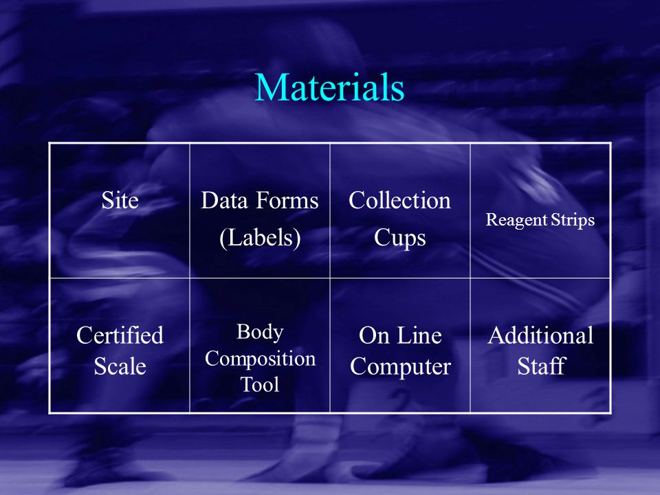 Materials Site Data Forms (Labels) Collection Cups Certified Scale