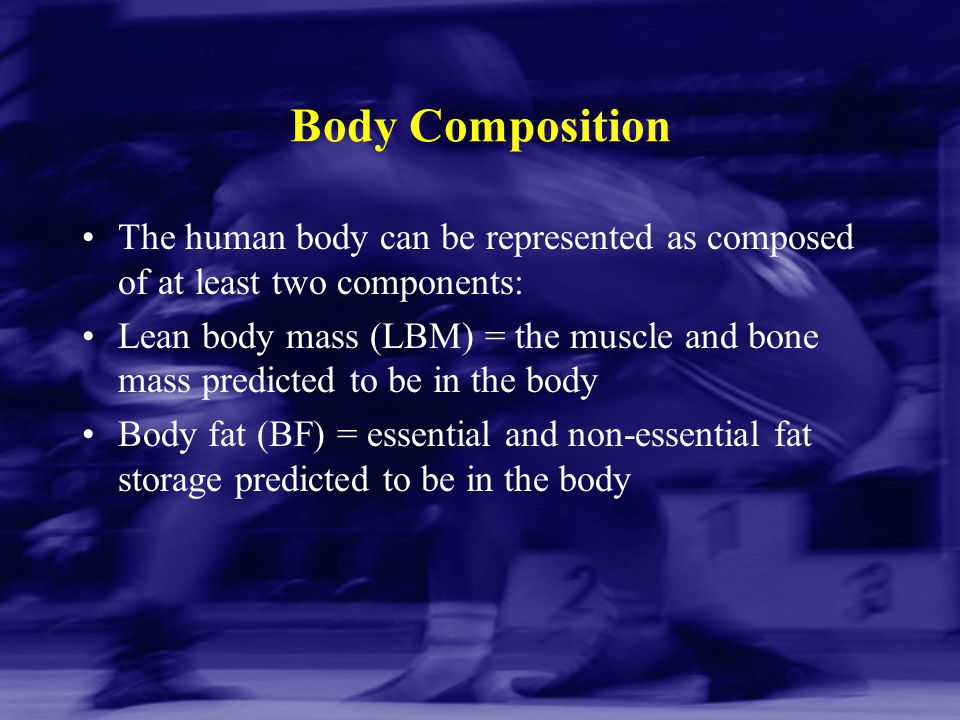 Body Composition The human body can be represented as composed of at least two components: