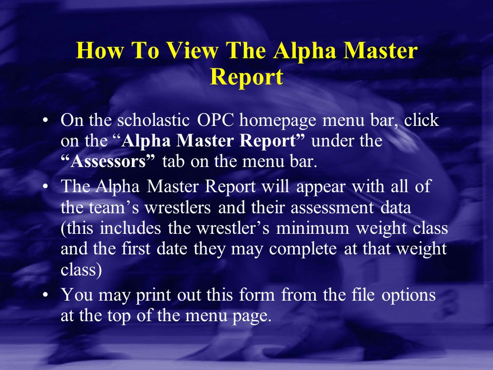 How To View The Alpha Master Report
