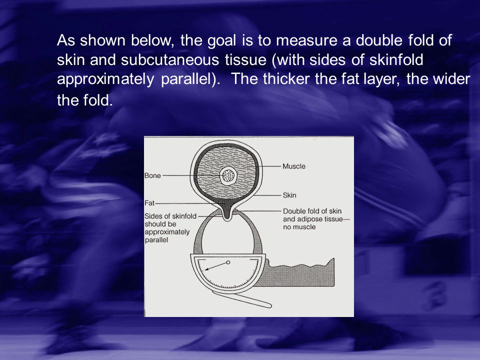 As shown below, the goal is to measure a double fold of skin and subcutaneous tissue (with sides of skinfold approximately parallel).