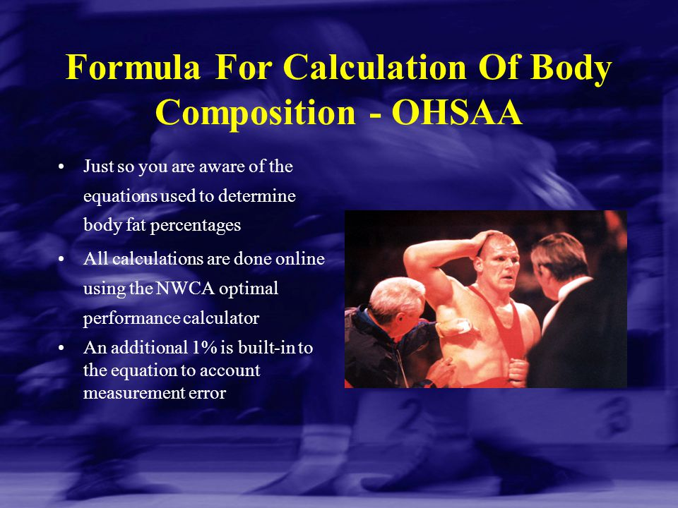 Formula For Calculation Of Body Composition - OHSAA
