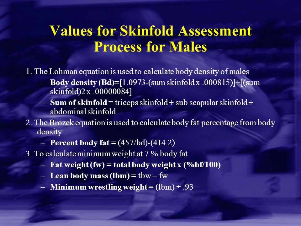 Values for Skinfold Assessment Process for Males