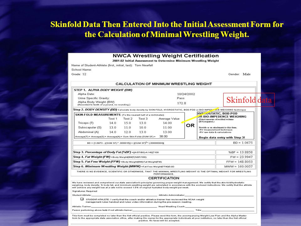 Skinfold Data Then Entered Into the Initial Assessment Form for the Calculation of Minimal Wrestling Weight.