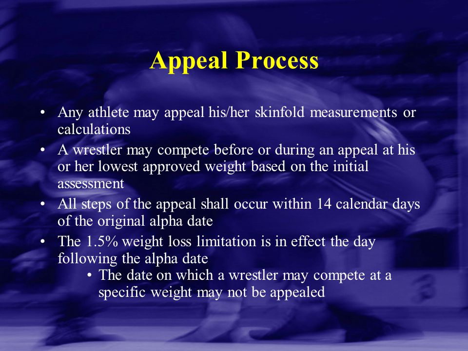 Appeal Process Any athlete may appeal his/her skinfold measurements or calculations.