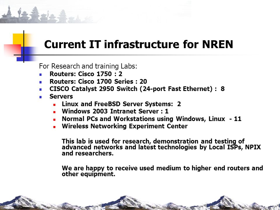 Current IT infrastructure for NREN