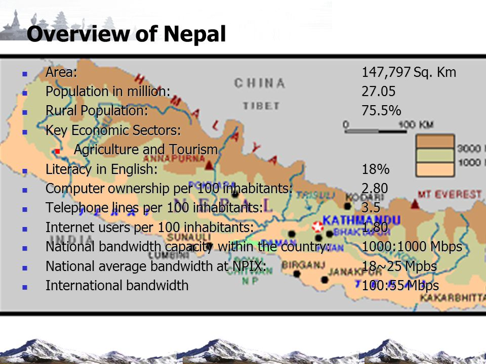 Overview of Nepal Area: 147,797 Sq. Km Population in million: 27.05