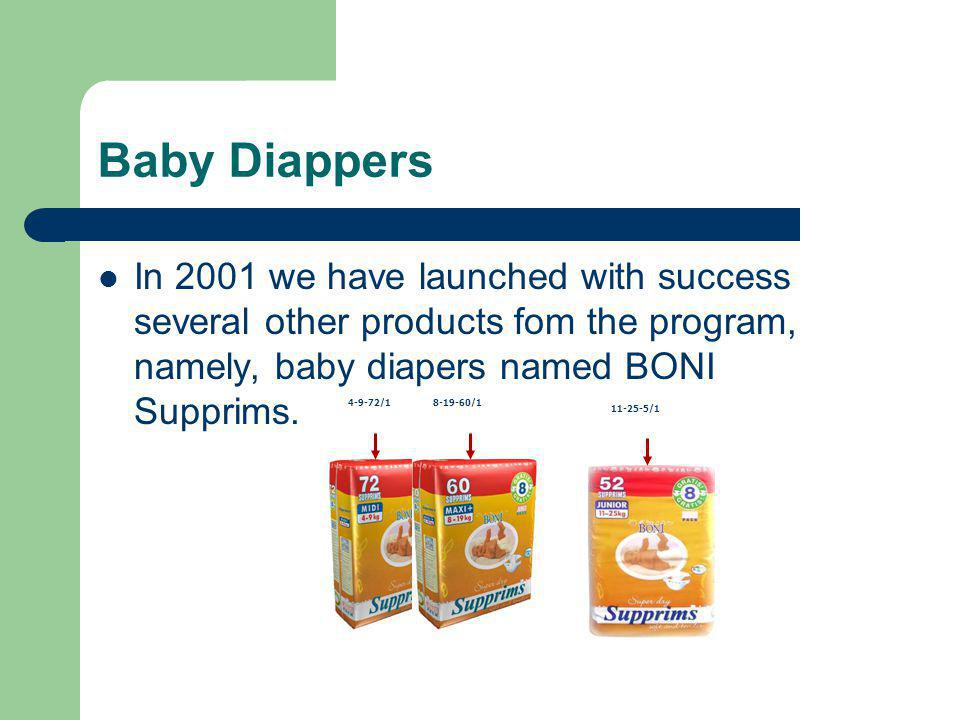 Baby Diappers In 2001 we have launched with success several other products fom the program, namely, baby diapers named BONI Supprims.