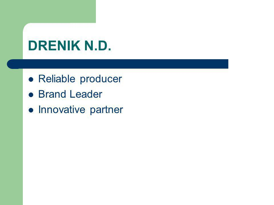 DRENIK N.D. Reliable producer Brand Leader Innovative partner