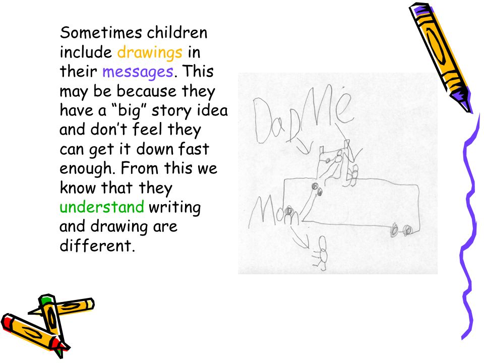 Sometimes children include drawings in their messages