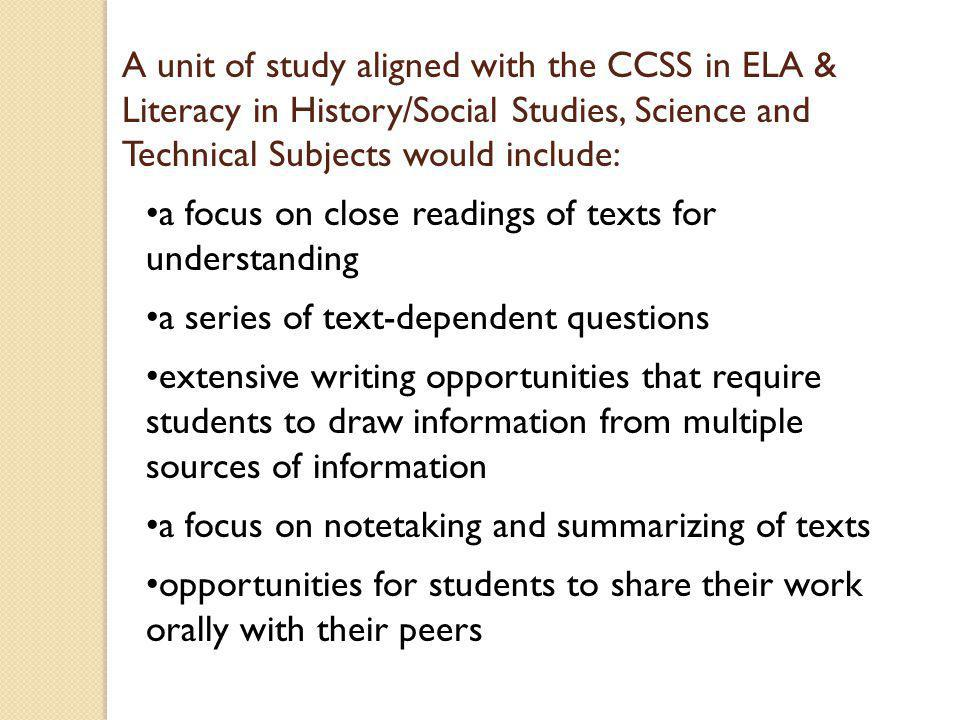 Sample core curriculum maps in ELA and units of study….