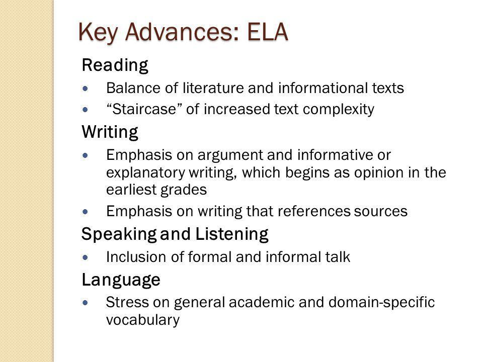Key Advances: ELA Standards for reading and writing in history/