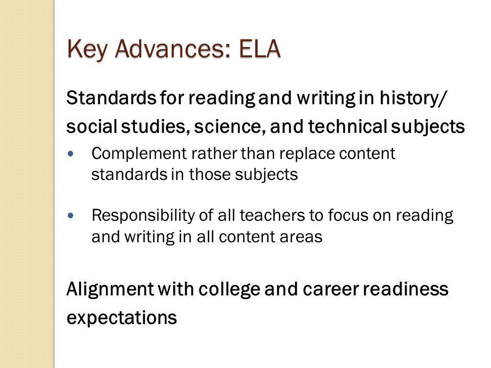 Key differences between existing state standards and the CCSS…