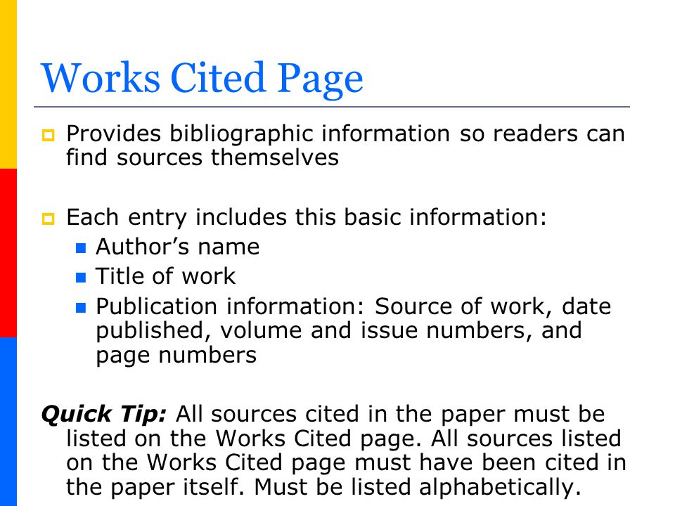how to format a works cited page