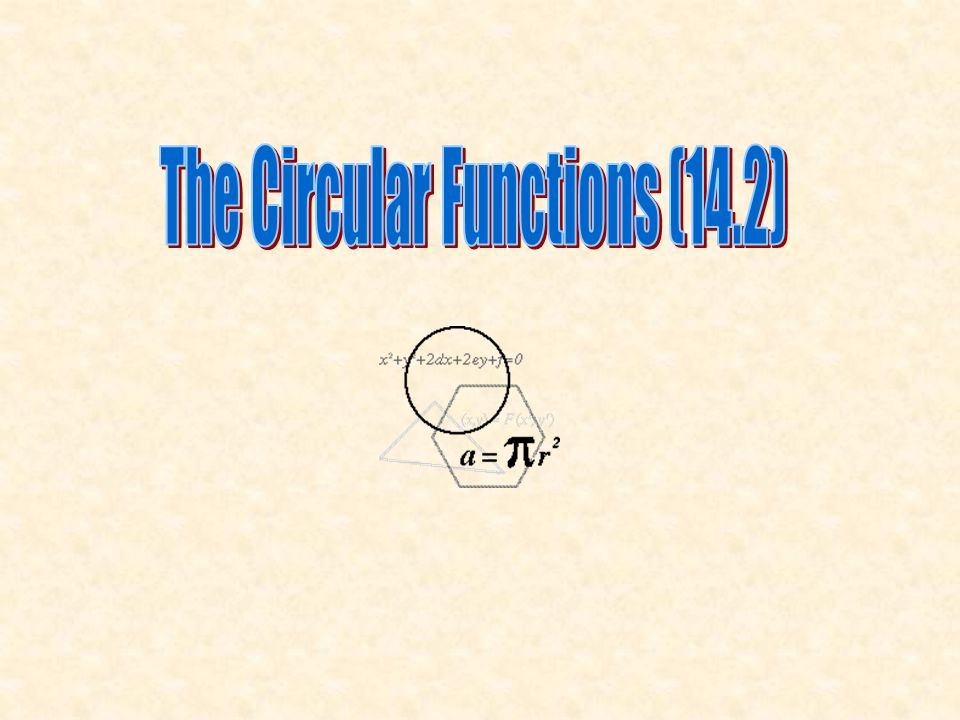The Circular Functions (14.2)
