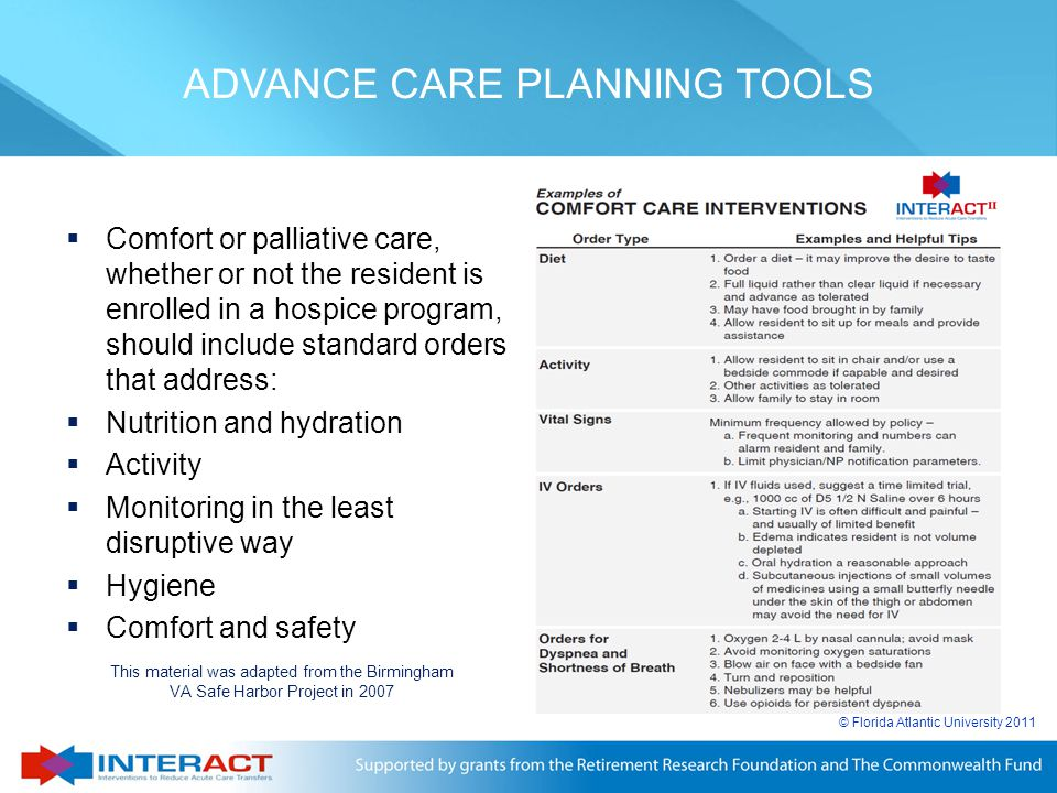 ADVANCE CARE PLANNING TOOLS