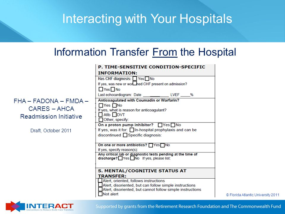 Information Transfer From the Hospital