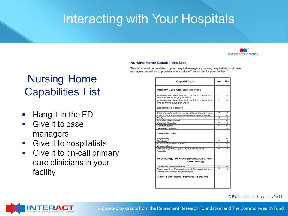 Nursing Home Capabilities List