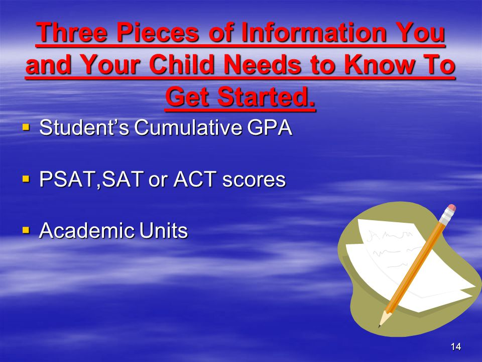 Three Pieces of Information You and Your Child Needs to Know To Get Started.
