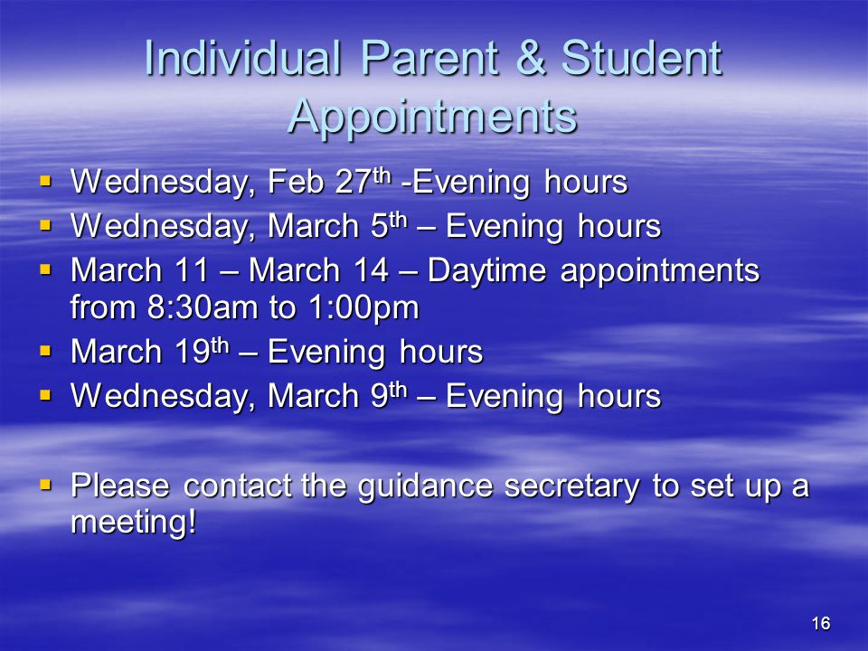 Individual Parent & Student Appointments
