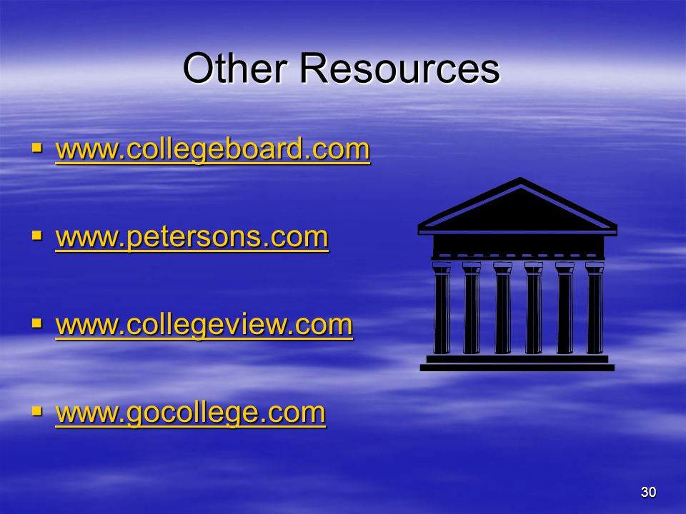 Other Resources www.collegeboard.com www.petersons.com
