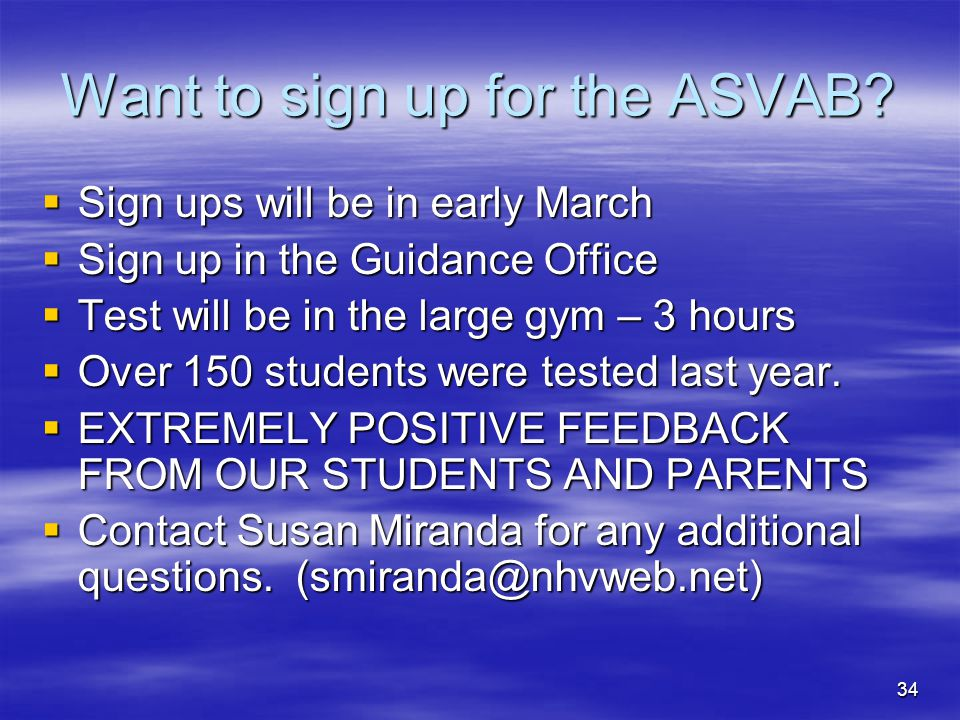 Want to sign up for the ASVAB