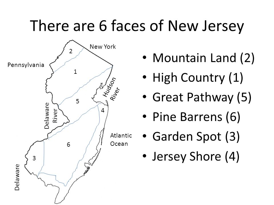 There are 6 faces of New Jersey