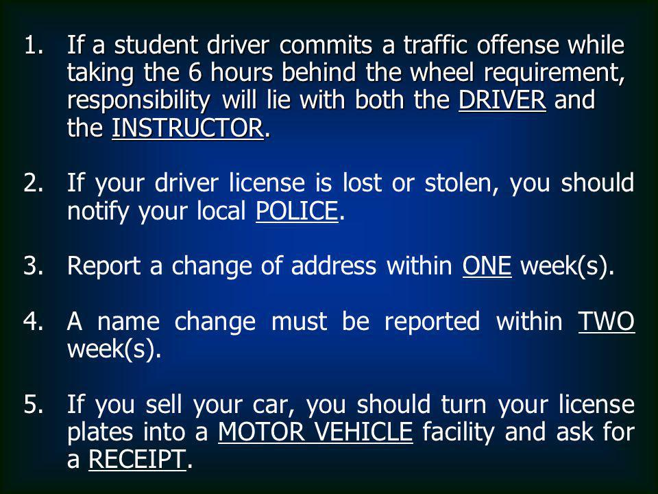 If a student driver commits a traffic offense while taking the 6 hours behind the wheel requirement, responsibility will lie with both the DRIVER and the INSTRUCTOR.