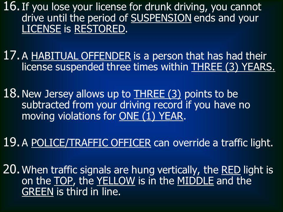 If you lose your license for drunk driving, you cannot drive until the period of SUSPENSION ends and your LICENSE is RESTORED.