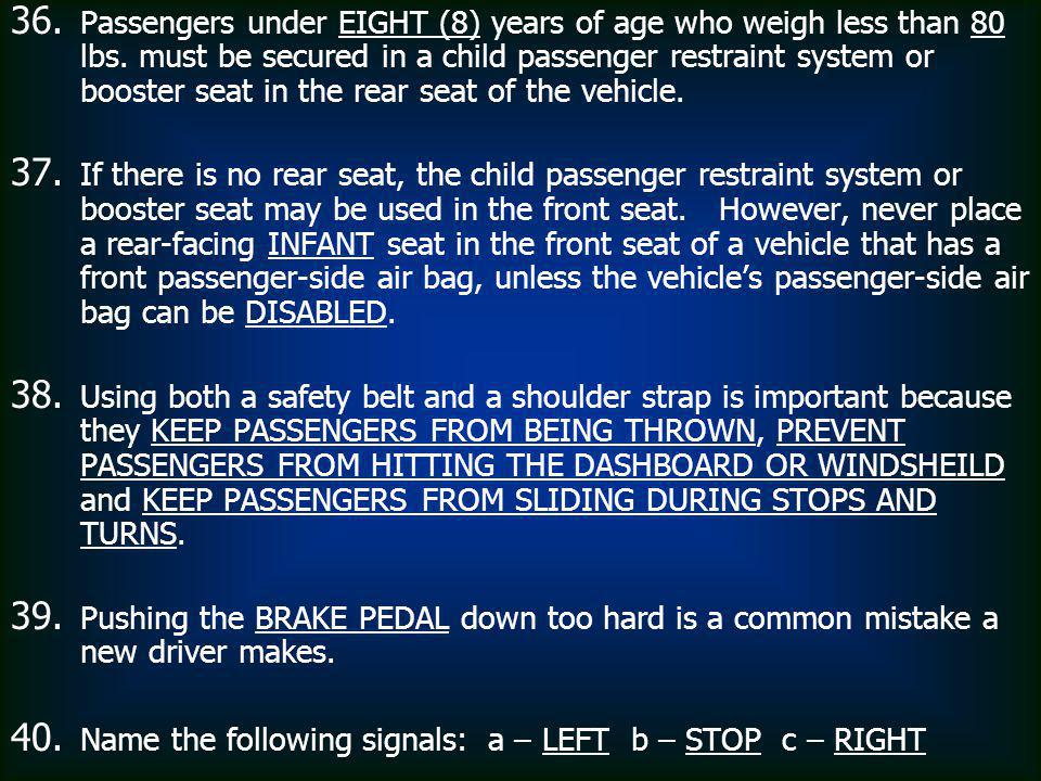 Passengers under EIGHT (8) years of age who weigh less than 80 lbs