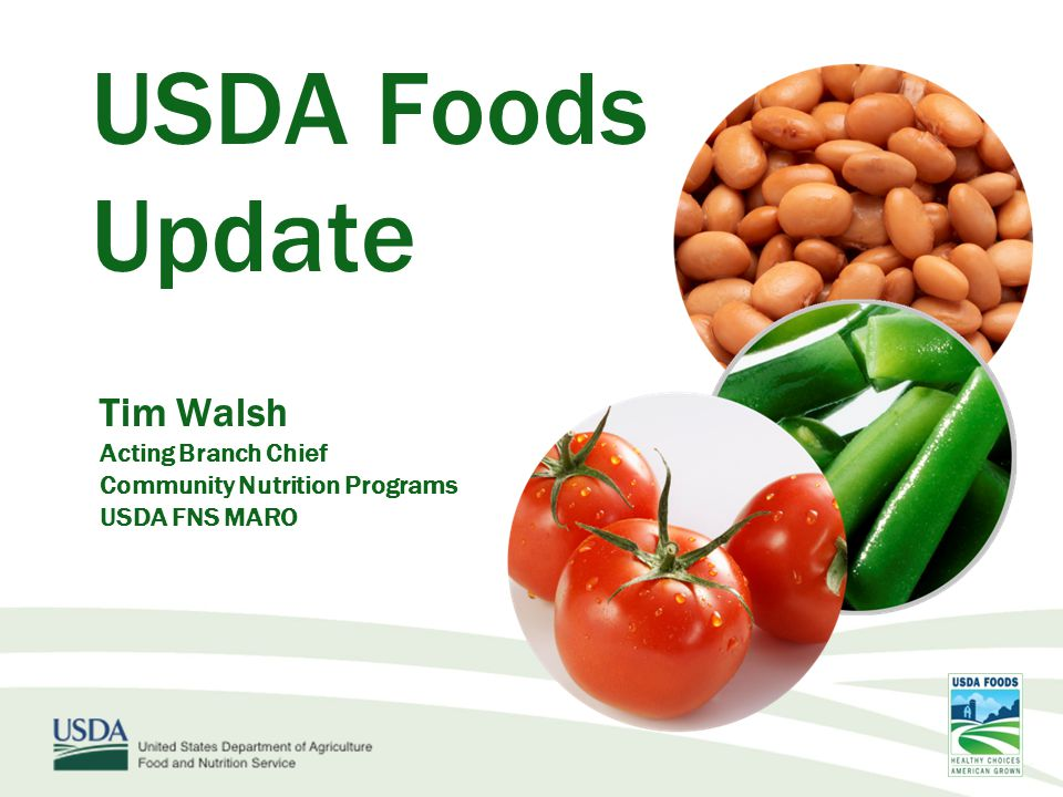 USDA Foods Update Tim Walsh Acting Branch Chief