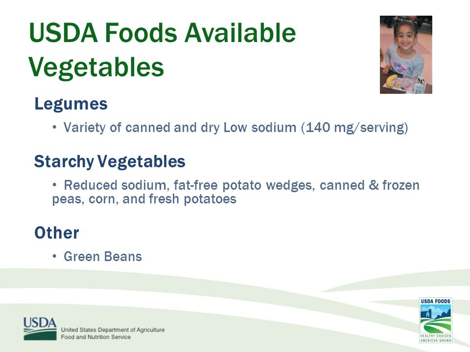 USDA Foods Available Vegetables