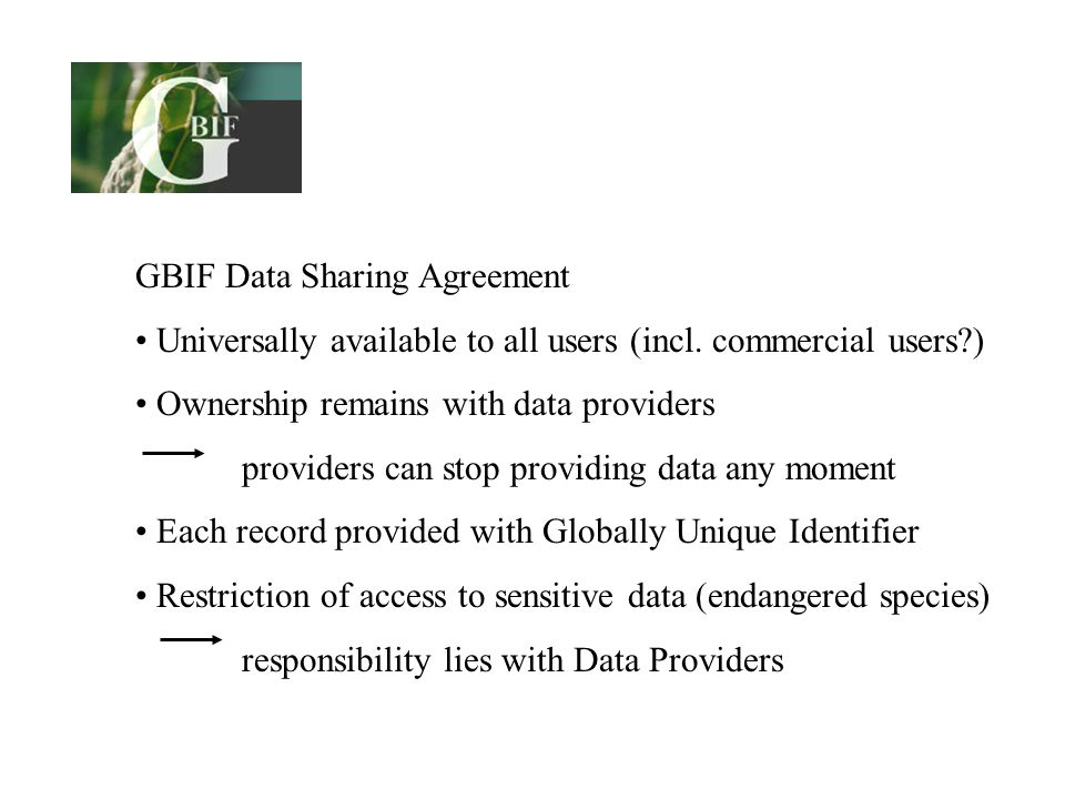 GBIF Data Sharing Agreement