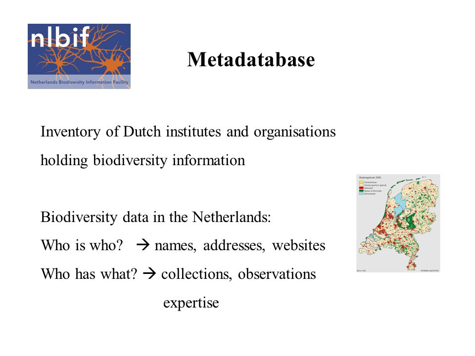 Metadatabase Inventory of Dutch institutes and organisations