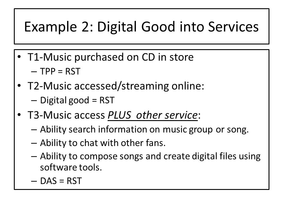 Example 2: Digital Good into Services