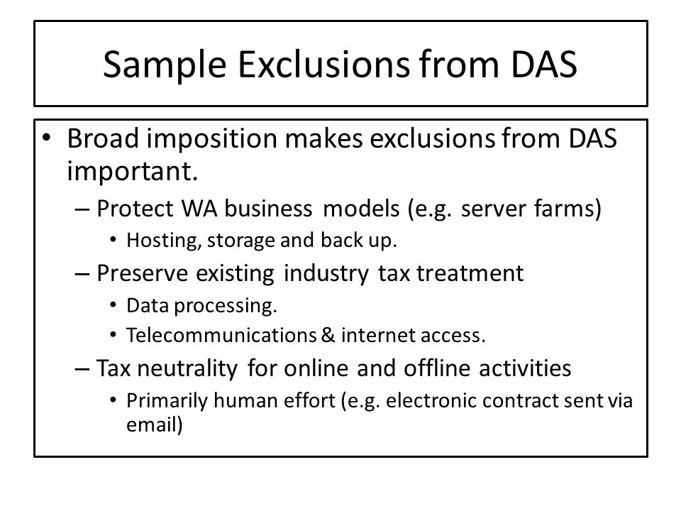 Sample Exclusions from DAS