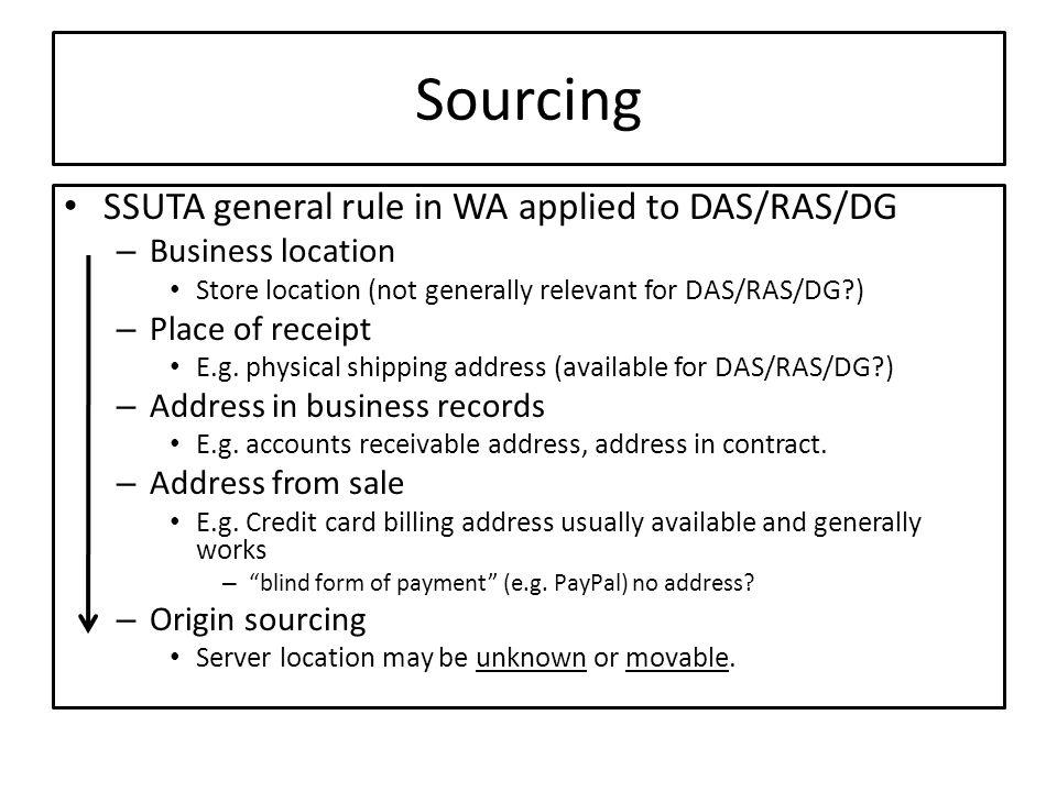 Sourcing SSUTA general rule in WA applied to DAS/RAS/DG