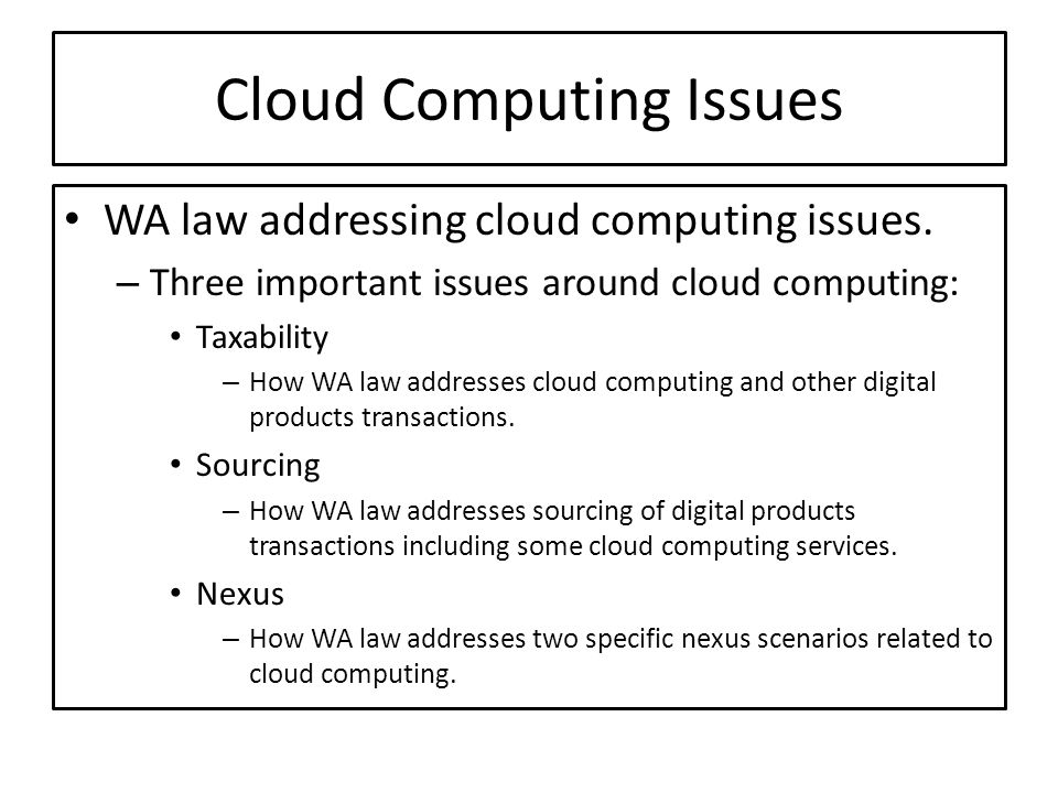 Cloud Computing Issues