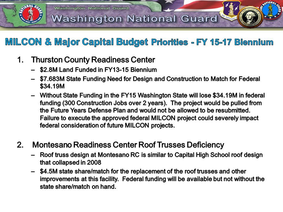 MILCON & Major Capital Budget Priorities - FY 15-17 Biennium
