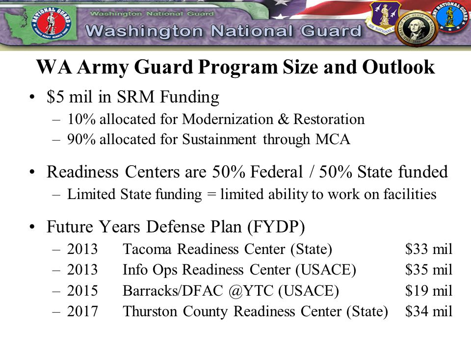 WA Army Guard Program Size and Outlook