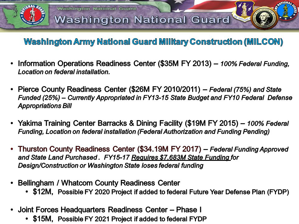 Washington Army National Guard Military Construction (MILCON)