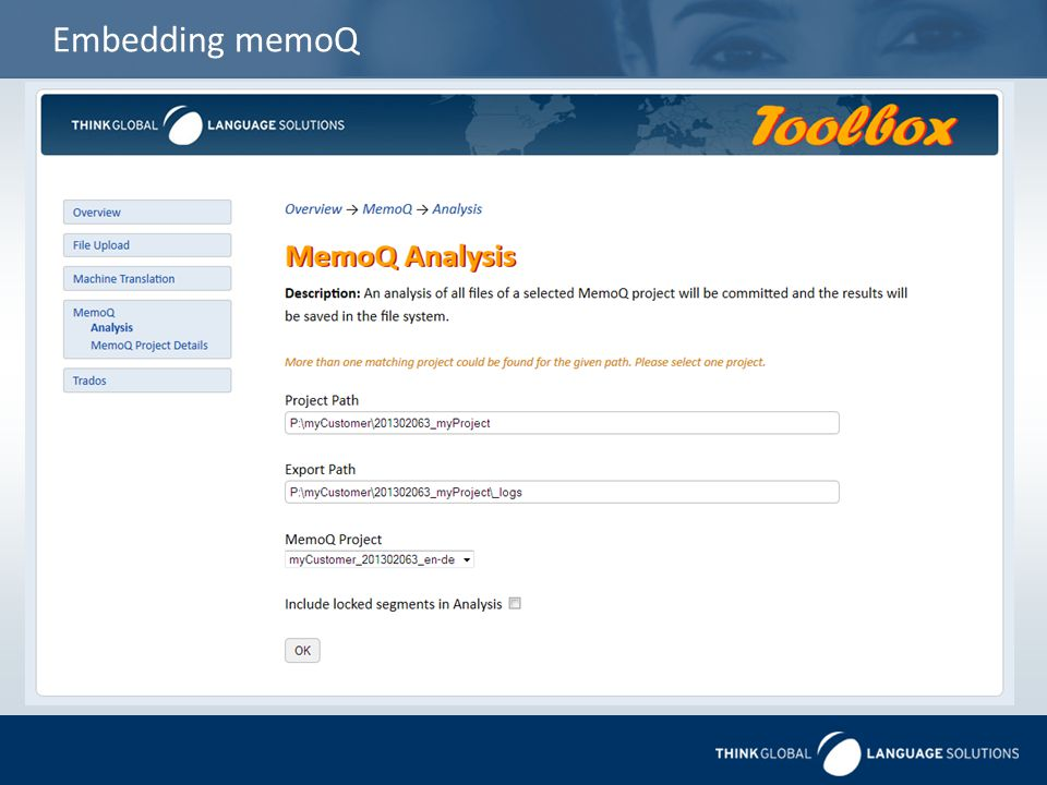 Embedding memoQ