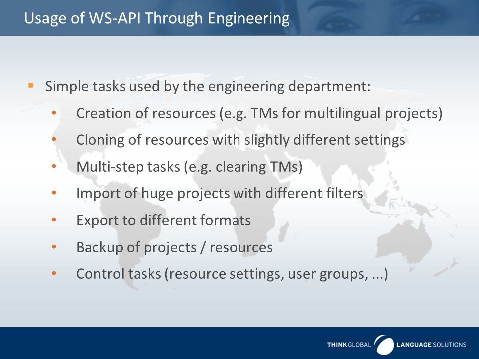 Usage of WS-API Through Engineering