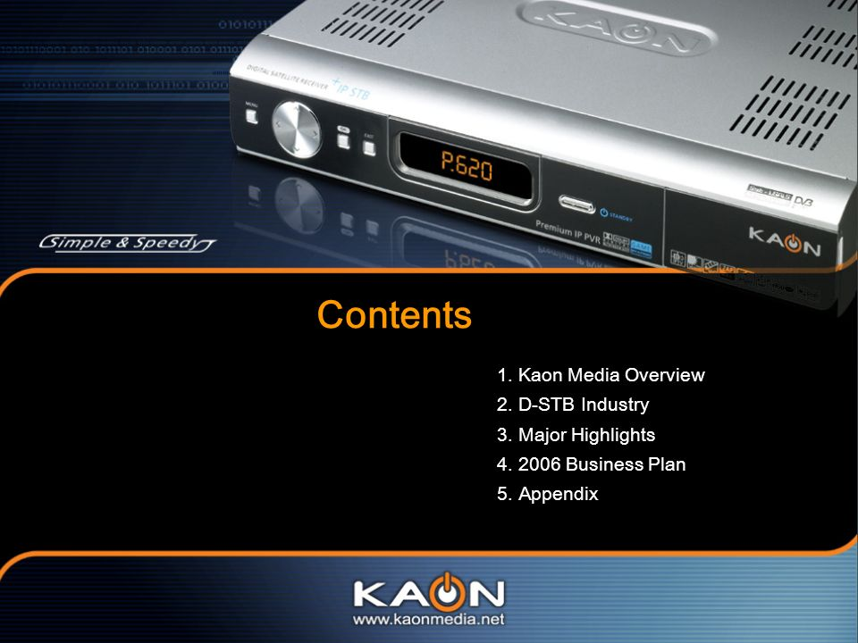 Contents 1. Kaon Media Overview 2. D-STB Industry 3. Major Highlights