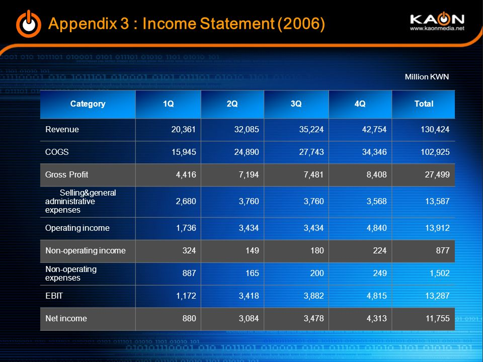 Appendix 3 : Income Statement (2006)