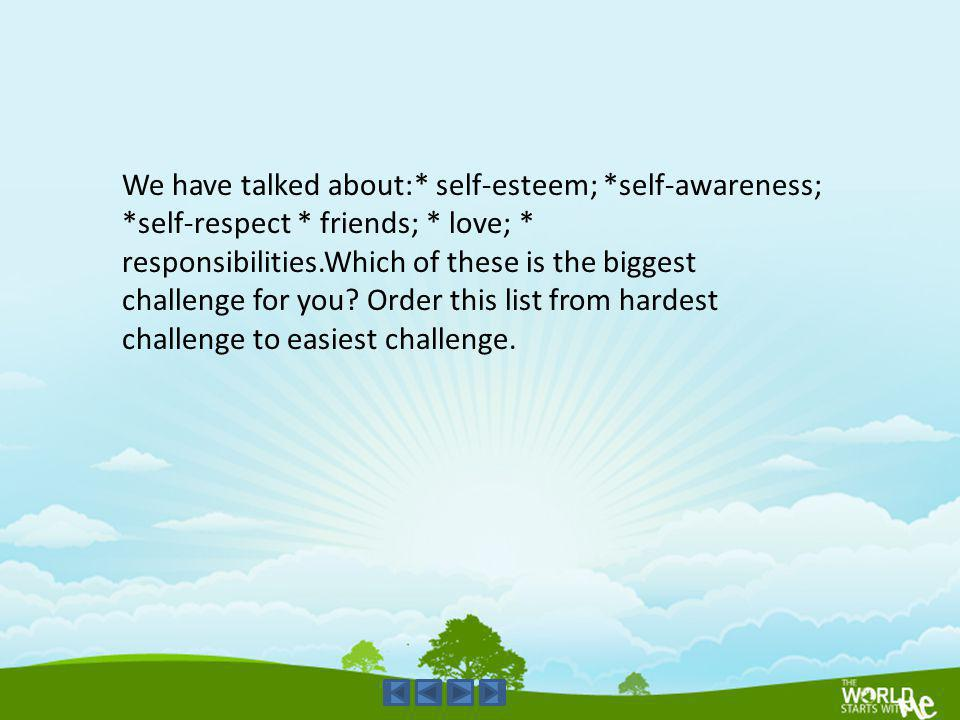 We have talked about:. self-esteem;. self-awareness;. self-respect
