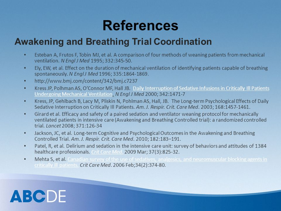 References Awakening and Breathing Trial Coordination