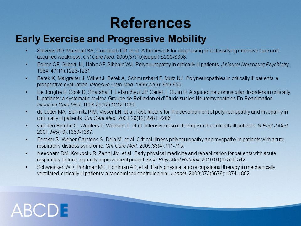 References Early Exercise and Progressive Mobility