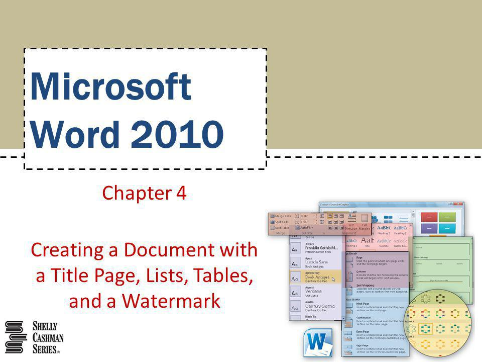 Creating a Document with a Title Page, Lists, Tables, and a Watermark